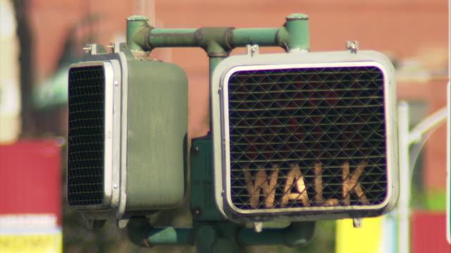 cu old style 'walk, don't walk' traffic signal / hartford, connecticut, usa - walk don't walk signal stock videos and b-roll footage