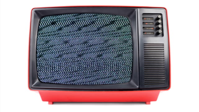 stockvideo's en b-roll-footage met old television in 80's style with signal noise - analog