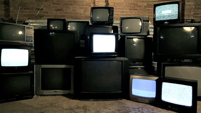 old televisions - group of objects stock videos and b-roll footage