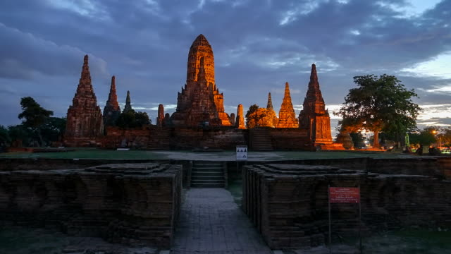 old temple wat chaiwatthanaram timelapse - angkor stock videos and b-roll footage