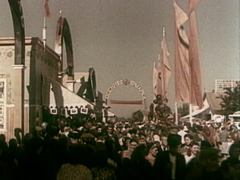 old time crowded fairground - fairground stock videos and b-roll footage