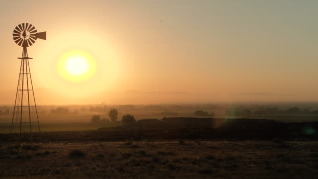 old time windmill at sunrise - idaho stock videos & royalty-free footage