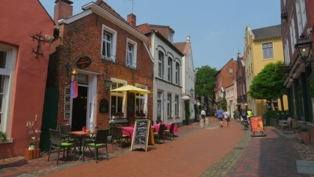 Old Town Alleyway with Typical Gabled Houses in Leer, East Frisia, Lower Saaxony, Germany