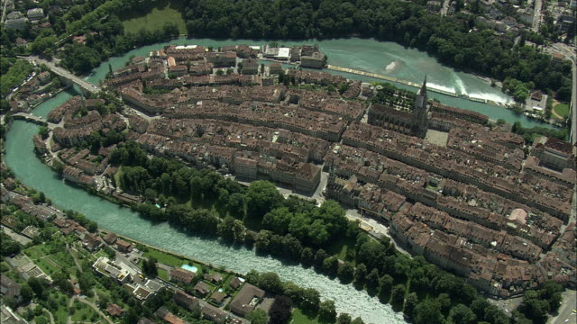 aerial old town and cathedral, bern, switzerland - old town stock videos & royalty-free footage