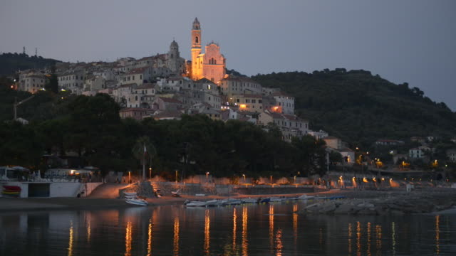 old town and san giovanni battista church of cervo at night - liguria stock videos & royalty-free footage