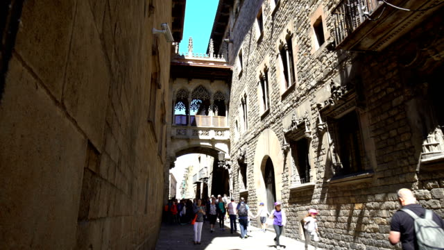 old town barri gotic in barcelona, time lapse - gothic quarter barcelona stock videos and b-roll footage