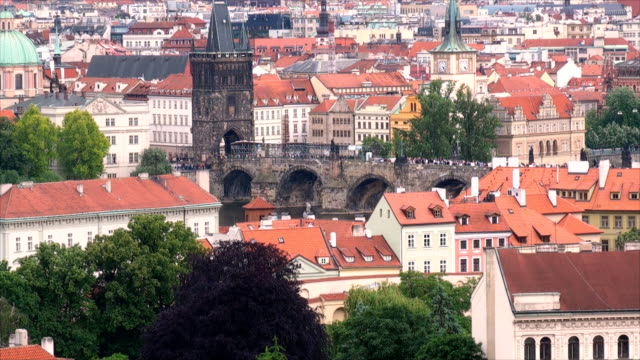 old town bridge tower - prague, czech republic - charles bridge stock videos and b-roll footage
