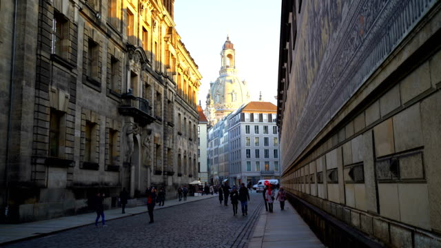 old town dresden with dresden frauenkirche, time lapse - dresden frauenkirche stock videos & royalty-free footage