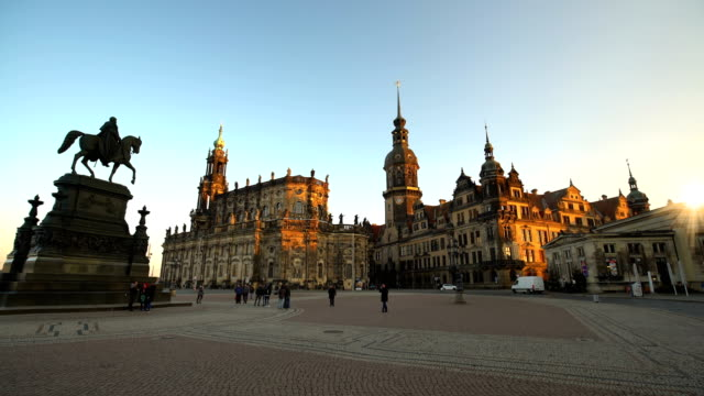 old town dresden with dresden hofkirche, time lapse - hofkirche stock videos & royalty-free footage