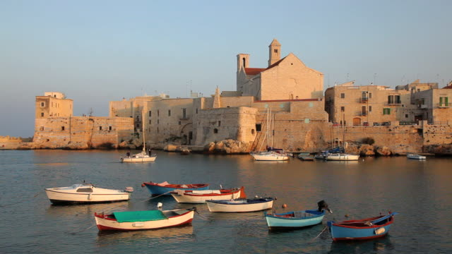 old town fishing harbour glovinazzo, puglia, apulia, southern italy, europe - on the move video stock e b–roll
