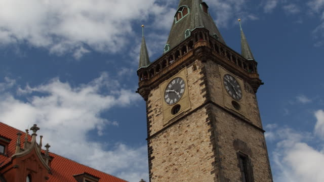 t/l la zo ms old town hall tower / prague, czech republic - prague town hall stock videos & royalty-free footage