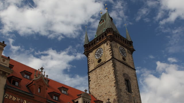 t/l la ms old town hall tower / prague, czech republic - prague town hall stock videos & royalty-free footage