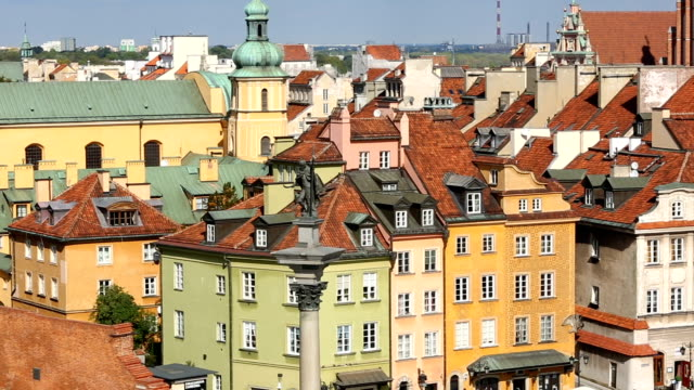 old town in warsaw, panning - warsaw stock videos and b-roll footage