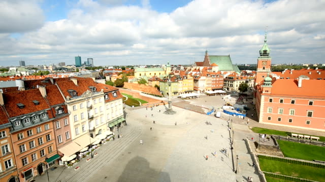 old town in warsaw, time lapse - warschau stock videos and b-roll footage