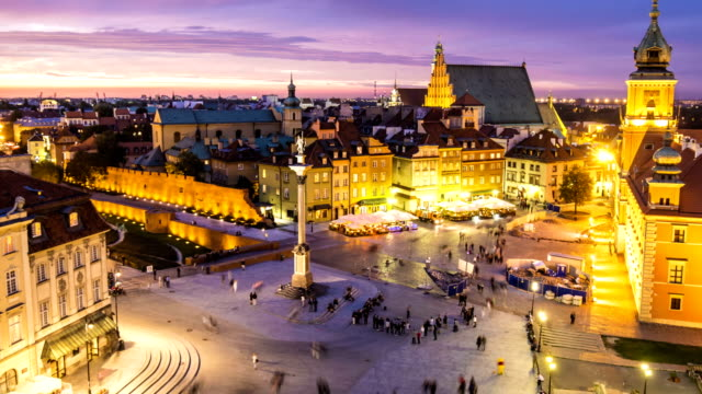 old town in warsaw, time lapse - warsaw stock videos and b-roll footage