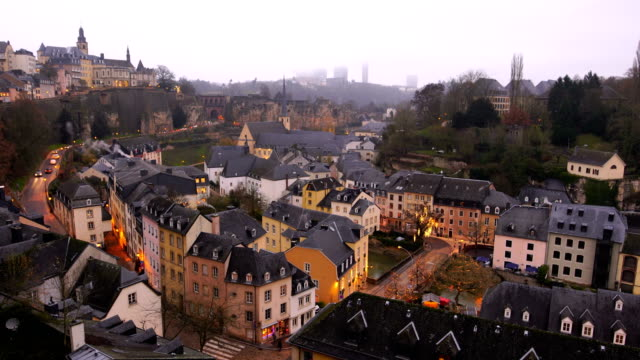 old town luxembourg city from top view in luxembourg - luxembourg benelux stock videos & royalty-free footage
