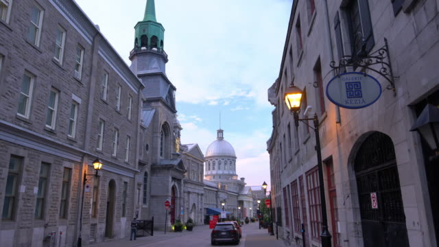 old town montreal at famous cobbled streets at twilight\ - ward stock videos & royalty-free footage