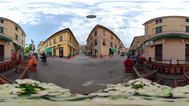 360 vr / old town of italian village levanto - 360 video stock videos & royalty-free footage