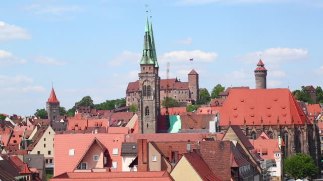 pan old town of nuremberg and the castle - castello video stock e b–roll