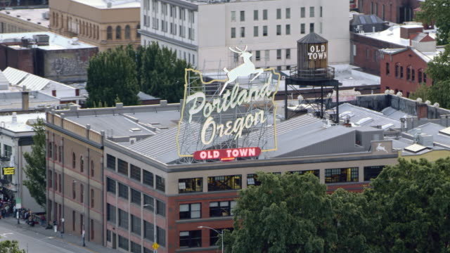 aerial old town of portland, oregon - portland oregon old town stock videos & royalty-free footage