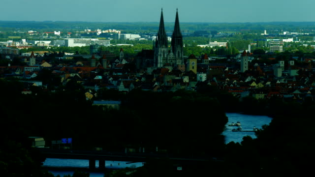 ha t/l old town of regensburg and the cathedral - regensburg stock videos & royalty-free footage