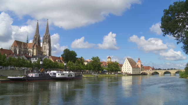 t/l old town of regensburg and the old stone bridge over the danube river - regensburg stock videos & royalty-free footage