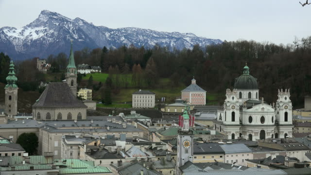 old town of salzburg, austria - clock tower stock videos & royalty-free footage