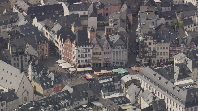 aerial old town of trier, rhineland-palatinate, germany - rhineland palatinate stock videos & royalty-free footage