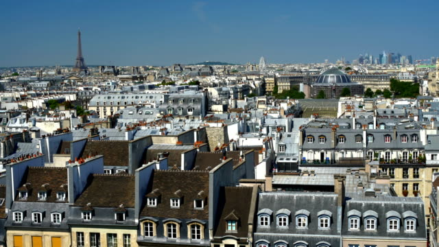 old town paris with eiffel tower - observation point stock videos & royalty-free footage