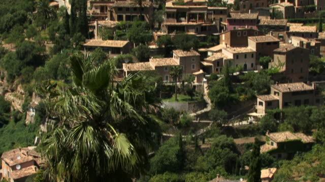 ws, tu, ha, old town, spain, balearic islands, mallorca, deia - fan palm tree stock videos & royalty-free footage