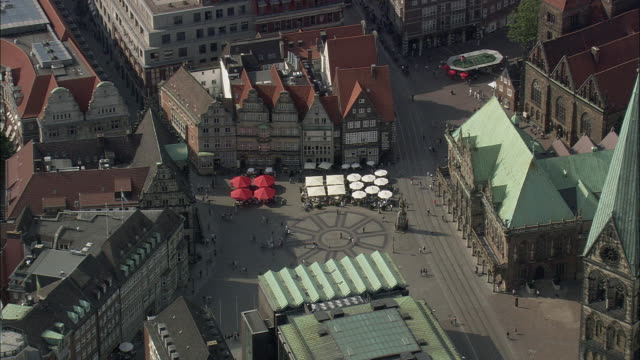 AERIAL Old town square, Bremen, Germany