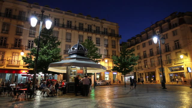 WS Old town square illuminated at night / Lisbon, Portugal