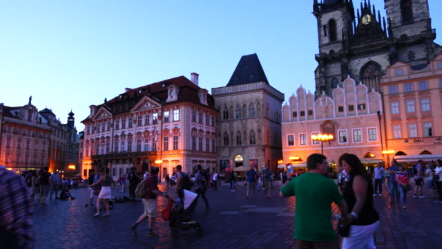 old town square in prague - prague old town square stock videos & royalty-free footage
