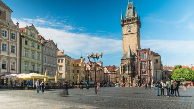 old town square, prague - prague town hall stock videos & royalty-free footage