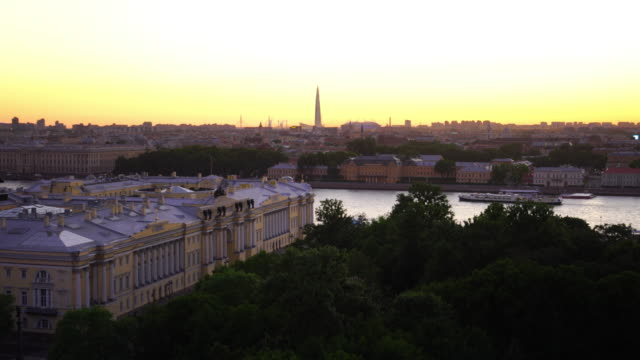 old town st. petersburg skyline from top view at sunset - st. petersburg russia stock videos & royalty-free footage