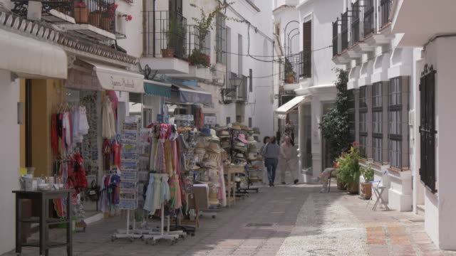 old town street and shops, marbella, andalucia, spain, europe - andalucia stock videos & royalty-free footage