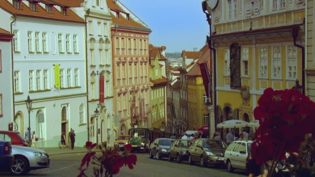 ws old town street scene with tourist train / prague, czech republic - tourist train stock videos and b-roll footage