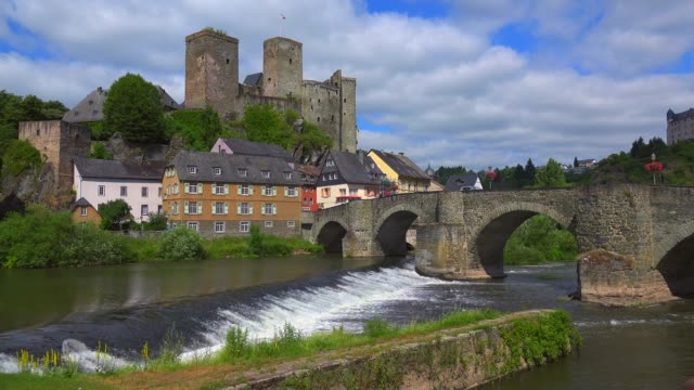 old town with castle and lahn river, runkel an der lahn, westerwald, hesse, germany, europe - circa 12th century stock videos & royalty-free footage