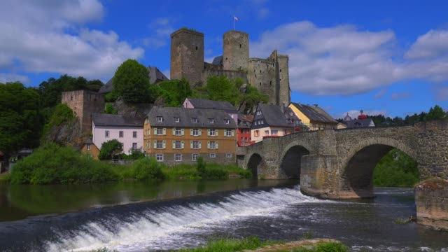 Old town with castle and Lahn River, Runkel an der Lahn, Westerwald, Hesse, Germany, Europe