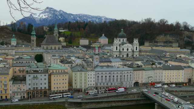 old town with university church, salzburg, austria - campo totale video stock e b–roll