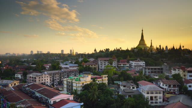 old town yangon city skyline - pagoda stock videos & royalty-free footage