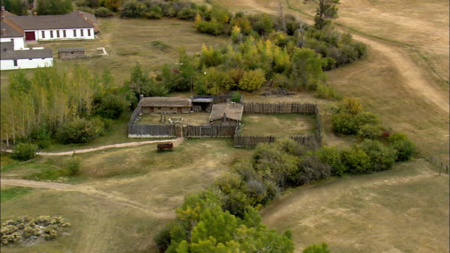 old trading post at fort bridger  - aerial view - wyoming, uinta county, united states - fortress stock videos & royalty-free footage