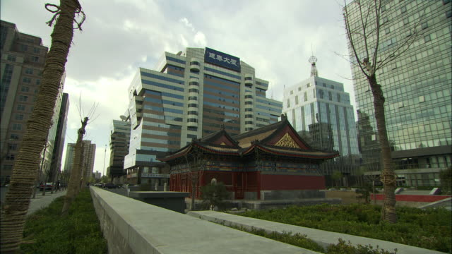 WS PAN LA Old traditional Chinese building sitting amongst modern skyscrapers, Beijing, China