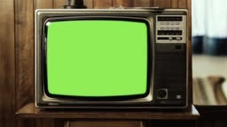 Old TV Set with Green Screen Explodes.