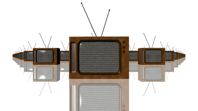 old tvs (loopable) - group of objects stock videos & royalty-free footage