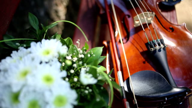 old violin with a bow lies on a wooden bench - violin stock videos & royalty-free footage
