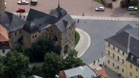 old weimer city palace - aerial view - thuringia,  helicopter filming,  aerial video,  cineflex,  establishing shot,  germany - weimar stock videos & royalty-free footage