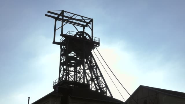 old winding tower at mining museum les mineurs wendel, petite-rosselle, lorraine, france, europe - tower stock videos & royalty-free footage