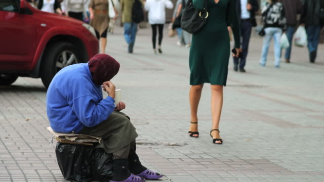 ms old woman beggar onhreshchatyk street / kiev, ukraine - begging social issue stock videos and b-roll footage