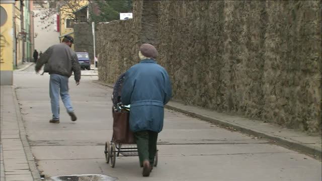 Old woman pushes pram along street, passing man with dog